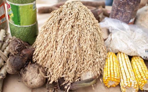 Cará, arroz, milho e feijão foram algumas das variedades encontradas na feira